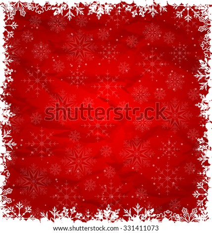 Illustration Christmas Border Made in Snowflakes, Crumpled Paper Texture - vector - stock vector