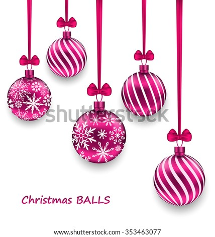 Illustration Christmas Card with Pink Glassy Balls with Bow Ribbon, Isolated on White Background - Vector - stock vector