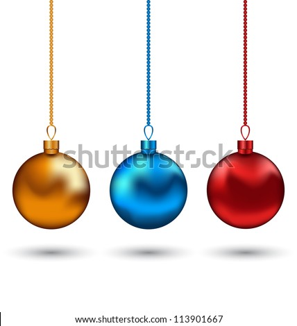 Illustration Christmas colorful balls isolated on white background - vector - stock vector