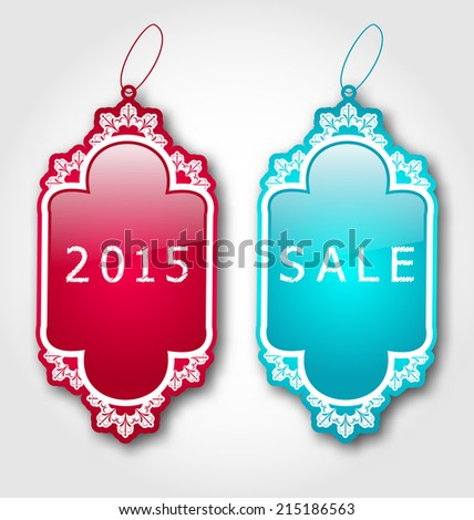 Illustration Christmas colorful discount labels with shadows - vector - stock vector