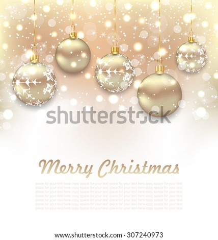 Illustration Christmas Glossy Postcard with Beautiful Balls - Vector - stock vector