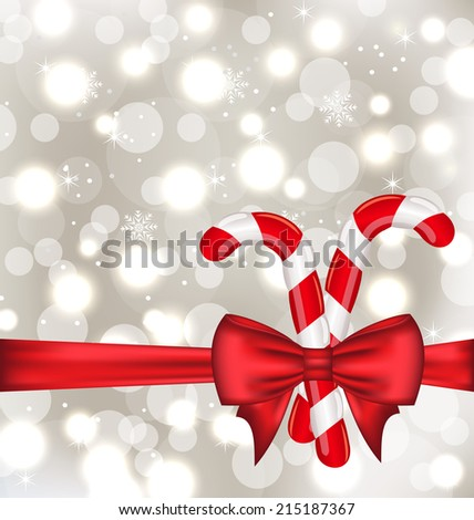 Illustration Christmas glowing background with gift bow and sweet canes - vector - stock vector