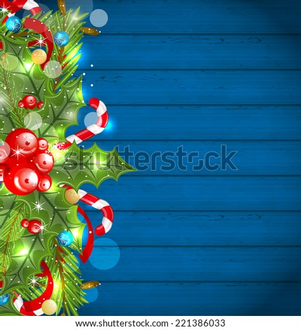 Illustration Christmas glowing background with holiday decoration - vector - stock vector