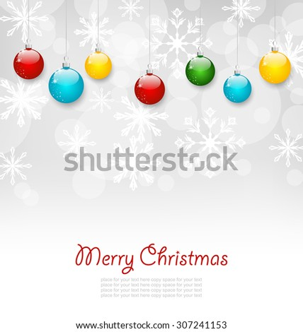 Illustration Christmas Greeting Card with Colorful Balls - Vector - stock vector
