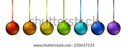Illustration Christmas multicolor balls - vector  - stock vector