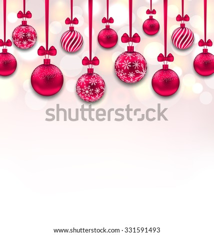 Illustration Christmas Pink Glassy Balls with Bow Ribbon, Glitter Background - Vector - stock vector