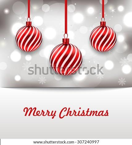 Illustration Christmas Shimmering Invitation with Balls - vector - stock vector