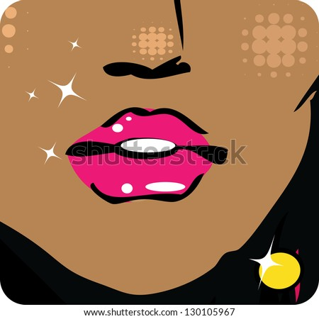 illustration Close-up of woman lips with glossy lipstick icon emblem symbol - stock vector