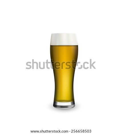 Illustration close up realistic glass of beer isolated on white background - vector - stock vector