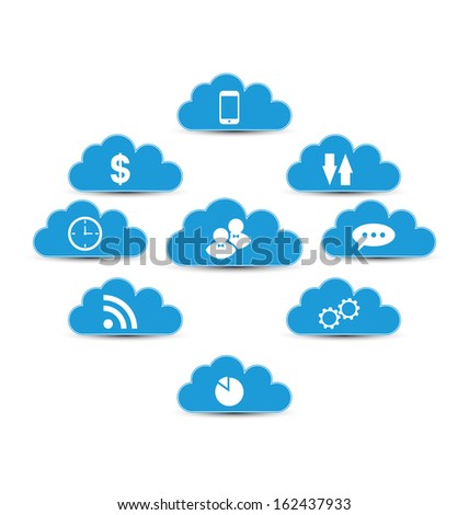 Illustration cloud computing and technology, infographic design elements - vector  - stock vector
