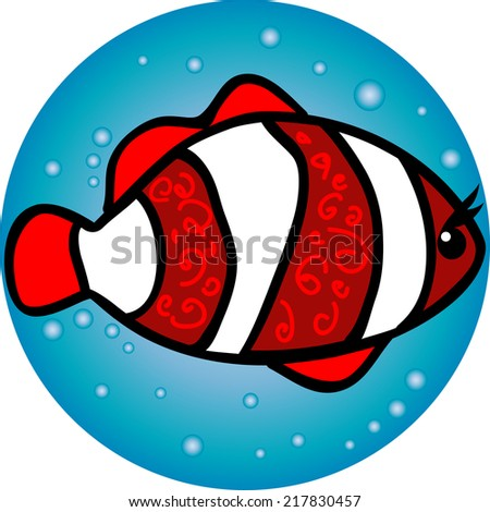 illustration  Clown Fish in the water - stock vector