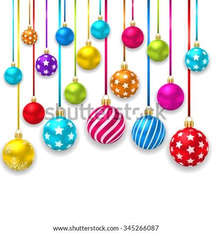 Illustration Collection Colorful Christmas Ornamental Balls - Vector - stock vector