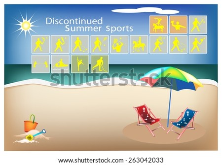 Illustration Collection of 16 Discontinued Summer Sport Icons on Beach Background.  - stock vector