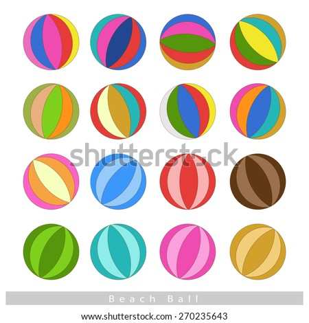 Illustration Collection of Multi-colored 16 Beach Balls Isolated on White Background. - stock vector