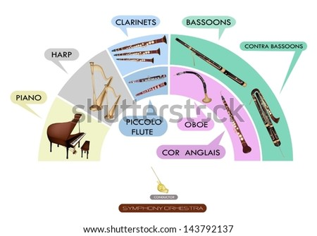 Illustration Collection of Musical Instrument for Symphony Orchestra, Piano, Harp, Clarinet, Bassoon, Contra Bassoon, Piccolo Flute, Oboe and Cor Anglais  - stock vector