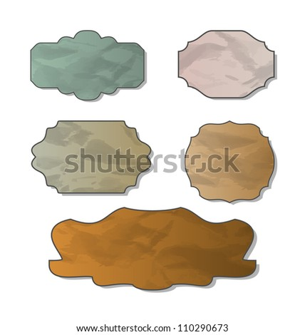 Illustration collection of various crumpled pieces of paper - vector - stock vector
