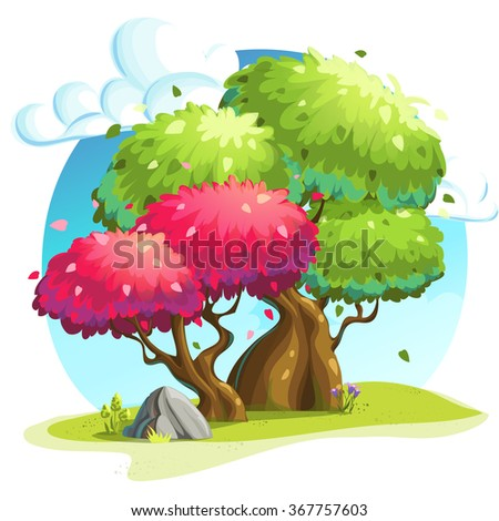 illustration colorful trees under the clouds - stock vector