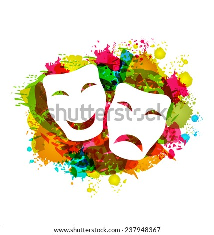 Illustration comedy and tragedy simple masks for Carnival on colorful grunge background - vector - stock vector