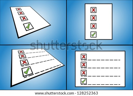 Illustration concept for Right and Wrong - four different (normal and perspective) views of 3 wrong tick box options with one right tick box option - stock vector