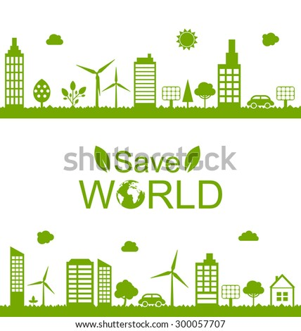 Illustration Concept Green Futuristic World, Green Houses, Solar Panels and Windmills - Vector - stock vector