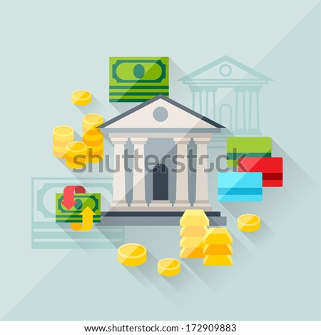 Illustration concept of banking in flat design style. - stock vector