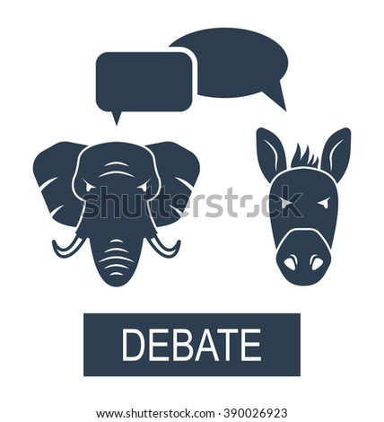 Illustration Concept of Debate Republicans and Democrats. Donkey and Elephant as a Symbols Vote of USA - Vector - stock vector