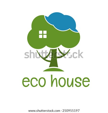Illustration concept of funny eco tree house. vector - stock vector