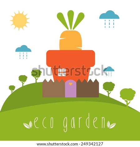 Illustration concept of garden pot with vegetables. Vector - stock vector