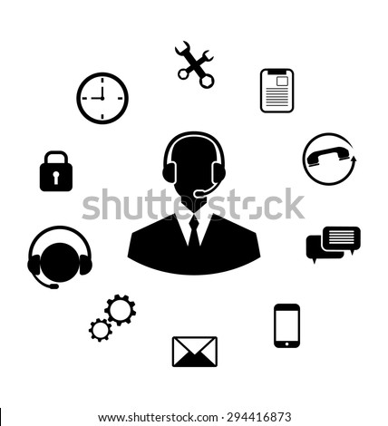 Illustration Concept of Help Desk Service, Call Center with Operator with Headset, Minimalistic Icons - Vector - stock vector