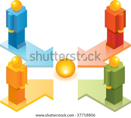 Illustration concept of Isometric Toy People series. Four people go to One Focus Point - stock vector