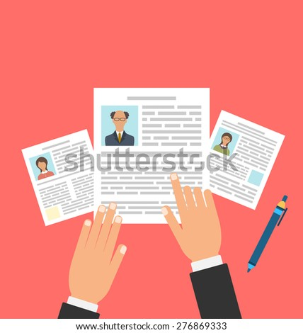 Illustration Concept of Job Interview with Business CV Resume, Flat Simple Icons - Vector - stock vector