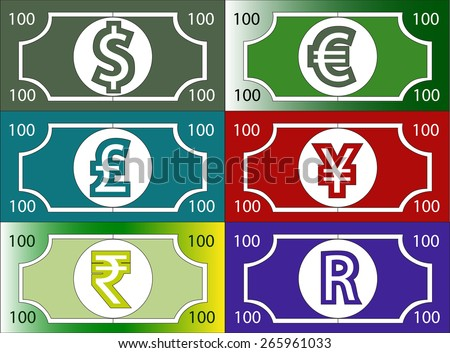 illustration currency money dollar pound euro - stock vector