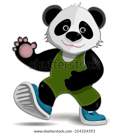 illustration cute fat panda on a white background - stock vector