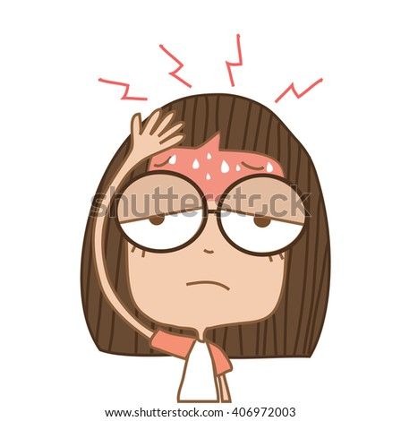 Illustration cute girl headache on white background. - stock vector