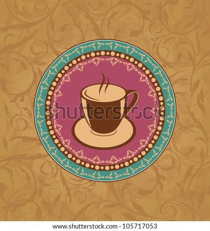 Illustration cute ornate vintage with coffee cup - vector - stock vector