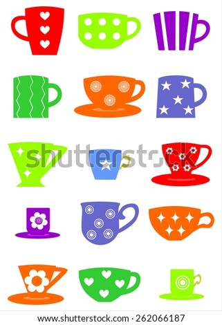illustration dedicated to the different types of cups. - stock vector