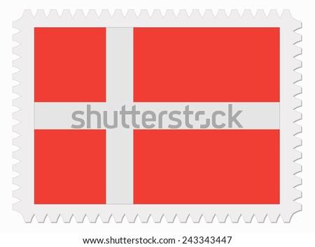 illustration Denmark flag stamp - stock vector