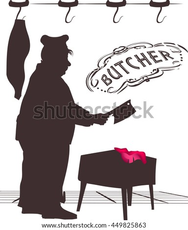 Illustration depicted a butcher. - stock vector