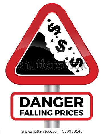 Illustration depicting falling prices represented by tumbling dollar signs crashing down a cliff on a red road sign. - stock vector
