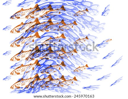 Illustration depicting fish hunting each other - stock vector
