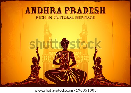 illustration depicting the culture of Andhra Pradesh, India - stock vector