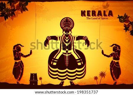 illustration depicting the culture of Kerala, India - stock vector
