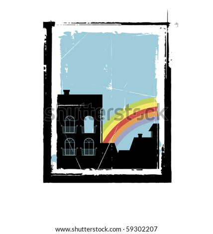 Illustration depicting the old city. In the foreground is a house with four windows. In the background is a rainbow. - stock vector