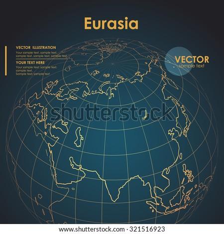 Illustration Earth map of Eurasia. Modern business line vector background - stock vector