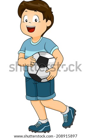Illustration Featuring a Boy Dressed in a Soccer Uniform Carrying a Soccer Ball - stock vector