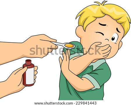 Illustration Featuring a Boy Refusing to Take His Medicine - stock vector