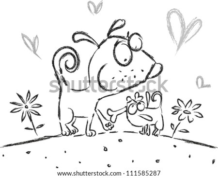 Illustration Featuring a Family of Dogs - stock vector