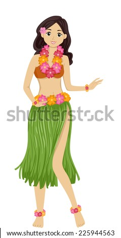 Illustration Featuring a Girl Dancing a Hawaiian Dance - stock vector