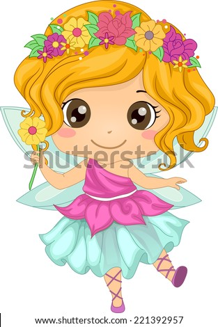 Illustration Featuring a Girl Wearing a Fairy Costume - stock vector