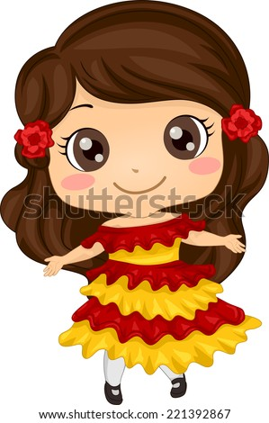 Illustration Featuring a Girl Wearing a Mexican Costume - stock vector